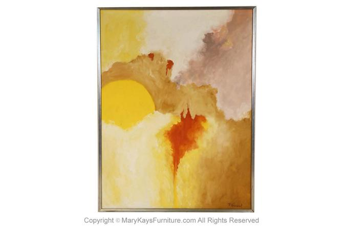Mid Century P. Girard Original Abstract Oil Painting by Marykaysfurniture