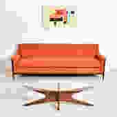 Orange Tweed Franklin Sofa with Sculpted Legs