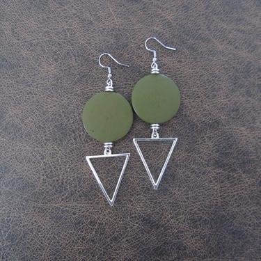 Large khaki earrings, Geometric earrings, African Afrocentric earrings, bold statement earrings chunky earrings, unique Art Deco, silver by Afrocasian