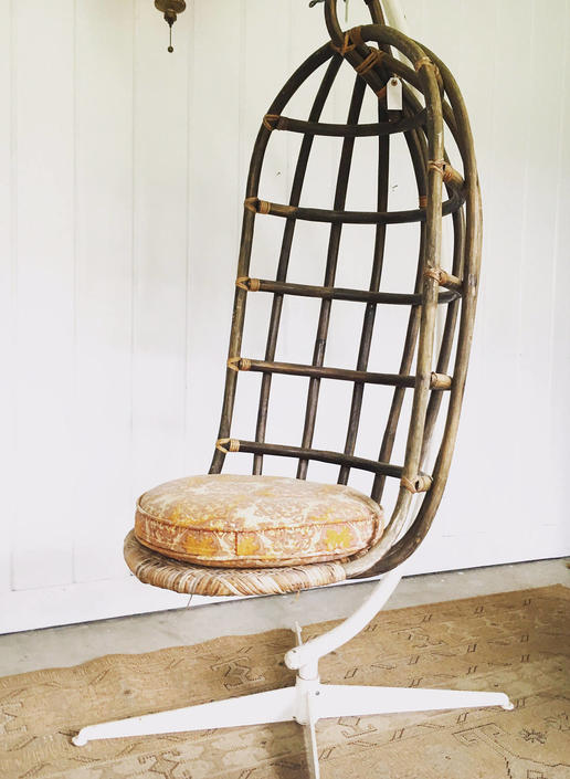 Mid-Century Woven Hanging Nest Chair with Original Metal Base by PortlandRevibe