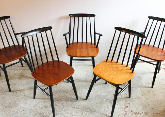 Teak & Black Lacquer Windsor Style Dining Chairs