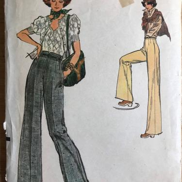 Vintage Vogue 9086 Pants Pattern | 70s Wide Leg Trousers Sewing Pattern |Size 30  Large by blindcatvintage