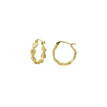 Solid 18K Textured Heart Hoops - Small