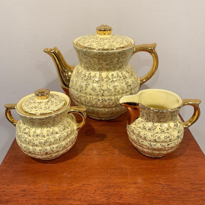 Vintage Hall China Drip-O-Lator Coffee Pot, Sugar and Creamer Set Made For The Enterprise Aluminum Co Mid Century Modern Yellow and Gold by OverTheYearsFinds