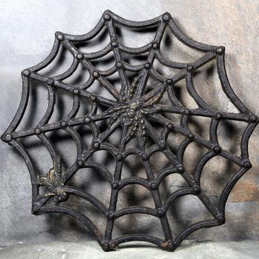 Vintage Cast Iron Halloween Trivet - Spider Web Metal Trivet - Spooky Halloween Decorations - Party Table   FREE SHIPPING by Bixley