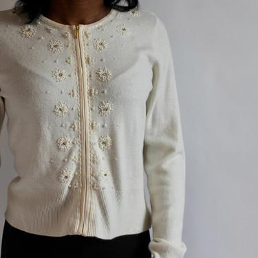 Winter White Cardigan with Beads and Embroidery fits S - M by BeggarsBanquet