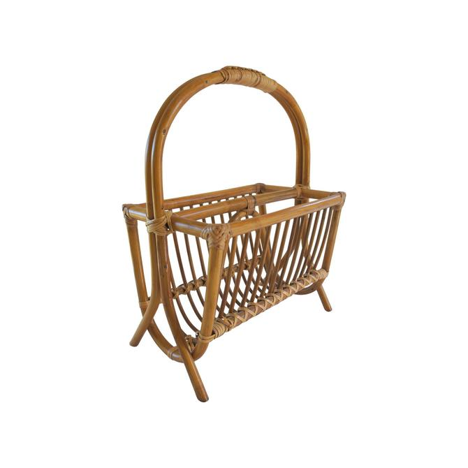 Vintage 1970s Rattan Bamboo Cane Magazine Rack by MetronomeVintage