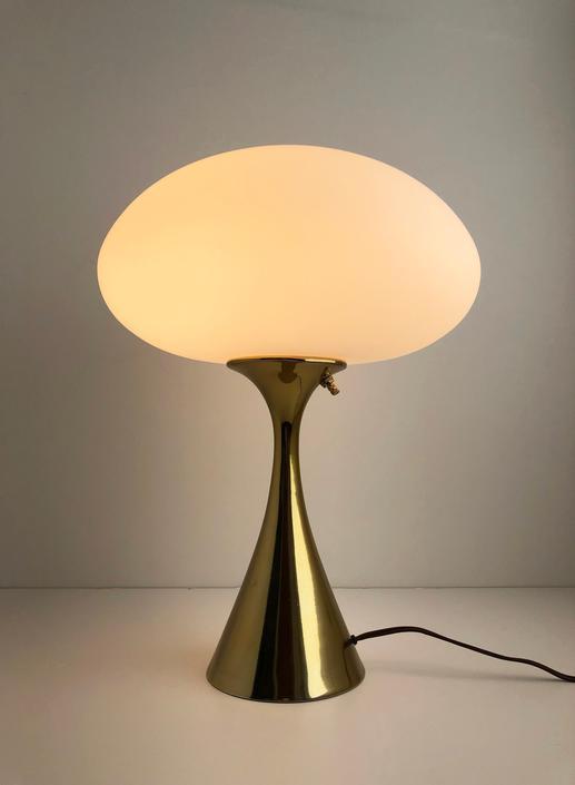 vintage mid century Laurel Mushroom brass table lamp by TripodModern