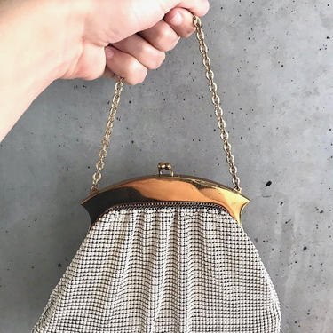 Vintage 1950's Whiting and Davis Mesh Purse   Whiting and Davis Purse   Whiting and Davis Clutch   Cream Purse   Ivory Purse   Mesh Purse by LedbellyVintage