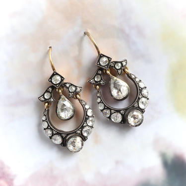 Estate 1.30ct.tw. Rose Cut Diamond Chandelier Earrings Silver over 18k Yellow Gold by YourJewelryFinder