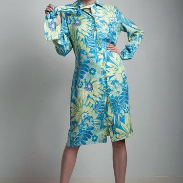 vintage 80s Bob Mackie floral silky shirt dress aqua lime sash belt ascot SMALL MEDIUM S M by shoprabbithole