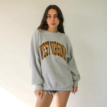 Vintage 90s CHAMPION West Virginia University Reverse Weave Crewneck Sweatshirt | Made in USA | Hip Hop, Street Style | 1990s Crew Sweater by TheVault1969