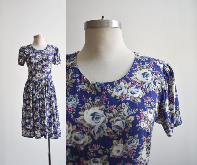 80s Blue Floral Day Dress by milkandice