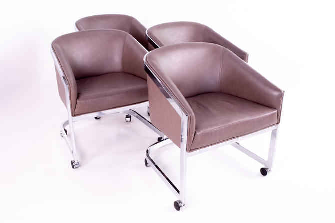 Milo Baughman for Design Institute of America Mid Century Chrome Side Lounge Club Chairs with Casters - Set of 4 - mcm by ModernHill
