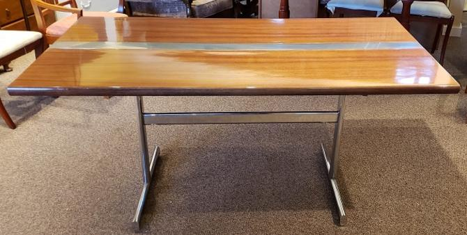 Item #S2066 Vintage Teak & Chrome Desk / Dining Table c.1970s