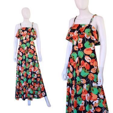 1970s Tulip Novelty Print Dress - 1970s Maxi Dress - 1970s Floral Maxi Dress - 1970s Disco Maxi Dress - 1970s Tulip Dress | Size Extra Small by VeraciousVintageCo