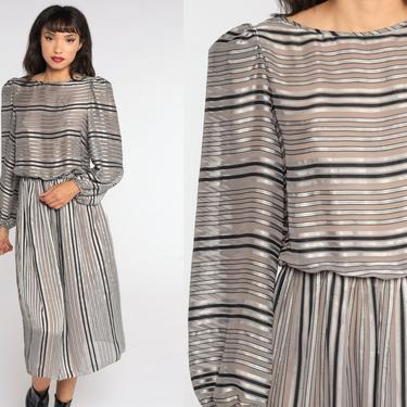 Sheer Striped Dress 80s Midi Dress Boho Grey 1980s Bohemian High Waist Long Puff Sleeve Button Back Vintage Blouson Small Medium by ShopExile