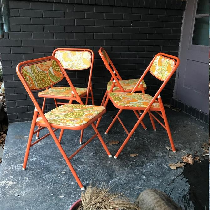 Mid-Century Flower Power Retro Folding Chairs Orange Card Table Dining Apartment Kitchen Nook by CabinModernist