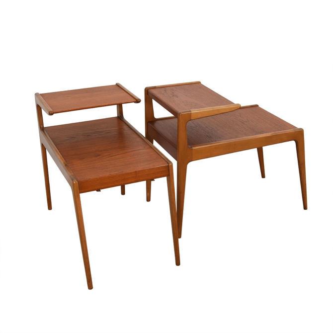 Pair of Teak Side Tables w/ Magazine Rack