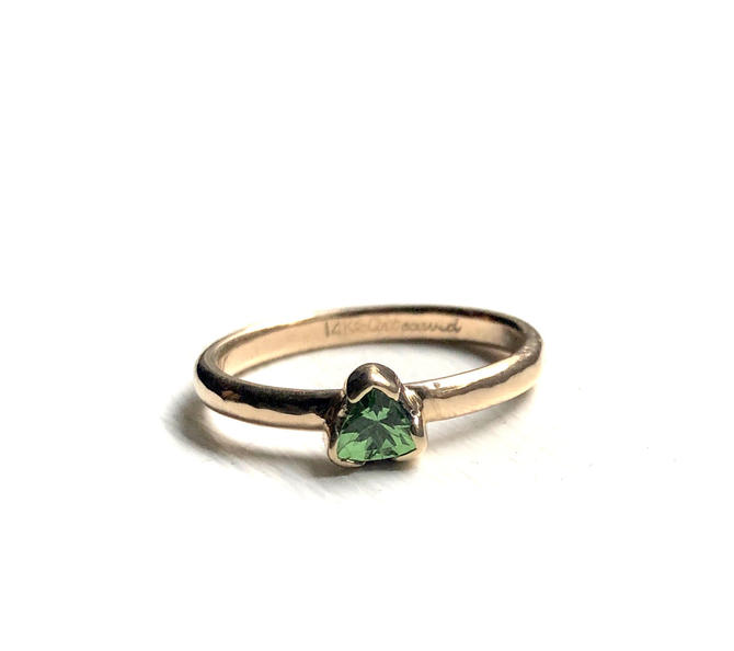 14k Gold Green Trillion Cut Tsavorite Garnet on a recycled 14k comfort fit band by RachelPfefferDesigns