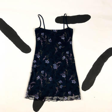 90s Spaghetti Strap Floral Blue Mesh Overlay Slip Dress / Tank Dress / Medium / Daisies / Navy / Goth / y2k / Clueless / Square Neck / 00s / by badatpettingcats