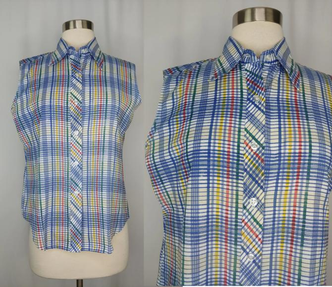 Vintage Seventies Fruit of the Loom Women's Sleeveless Plaid Collared Button Up Top - 70s Blue Plaid 34 Small/Medium Sleeveless Blouse by JanetandJaneVintage
