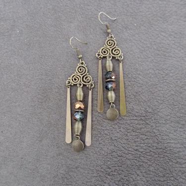 Gypsy chandelier earrings, boho chic earrings, green crystal earrings, Brass rustic earrings, unique artisan, modern contemporary earrings by Afrocasian