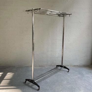 Machine-Age Rolling Chrome Garment Rack