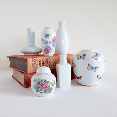 Vintage Chinese Pottery Vase Set, Large or small set, White and Asian Floral Ceramic Bud Vases, Mismatched Shapes, Shelf Decor by CivilizedCrow