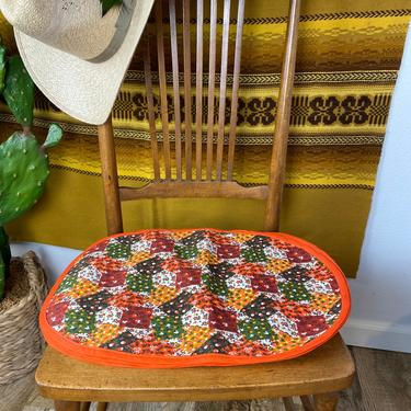 Set of 4 Vintage 70s Patchwork Fabric Placemats by DesertCactusVintage
