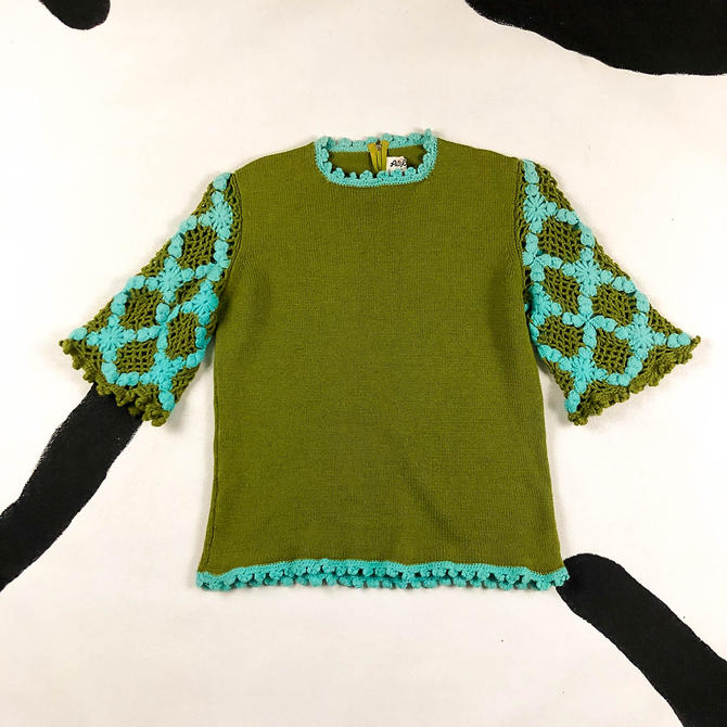 1960s Green and Blue Crochet Sleeve Short Sleeve Sweater Top / Open Knit / Olive Green / 60s / 70s / Mod / Floral / Phil Rose of California by shoptrashdotnet