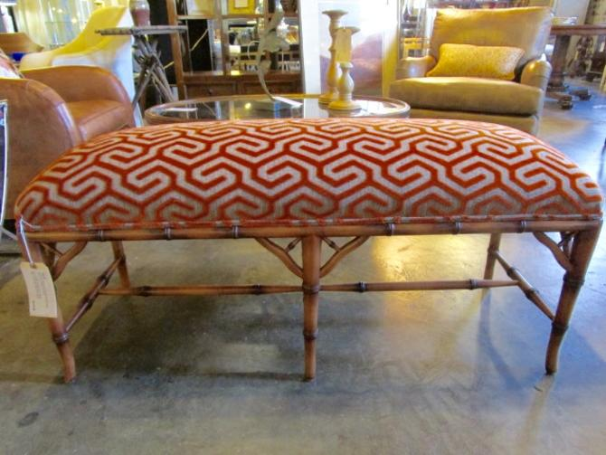 BAMBOO STYLE BENCH WITH NEW UPHOLSTERY