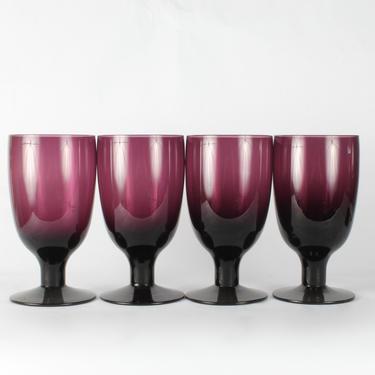 Vintage Maroon Wine Glassware, Maroon Glassware, Vintage Glassware, Wine Glassware, Heavy Glassware, Hand Blown, Burgundy, Set of 4 by 1882BlueVintage