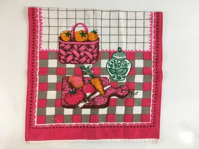 Vintage Linen Kitchen Tea Hand Towel Hot Pink Orange Green Gray Mid-Century Retro by CheckEngineVintage