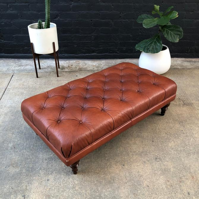 Vintage Cognac Leather Tufted Bench by VintageSupplyLA
