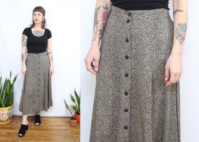 Vintage 90's Black and Beige Floral Midi Skirt / 1990's Button Front Minimalist Floral Skirt / Women's Size Medium by RubyThreadsVintage