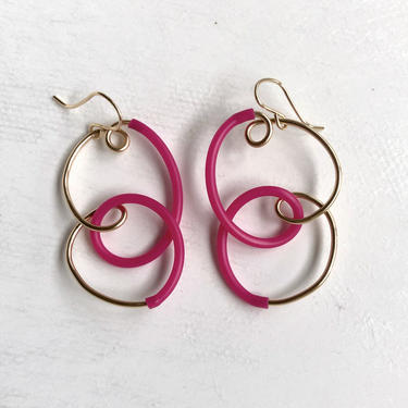 Pink Squiggle Doodle Dangles Earrings by RachelPfefferDesigns