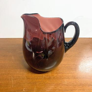 Vintage Cambridge Glass Amethyst Optic Swirl Pitcher by OverTheYearsFinds