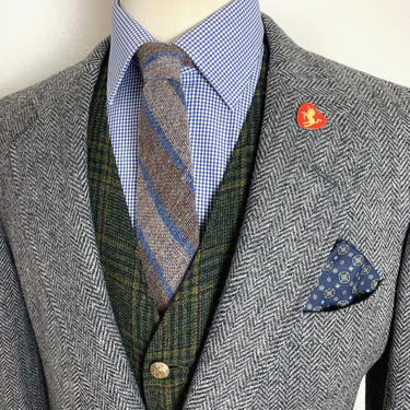 Vintage CRICKETEER 100% Wool TWEED Blazer ~ 40 R ~ Herringbone jacket / sport coat ~ Preppy / Ivy League / Trad ~ by SparrowsAndWolves