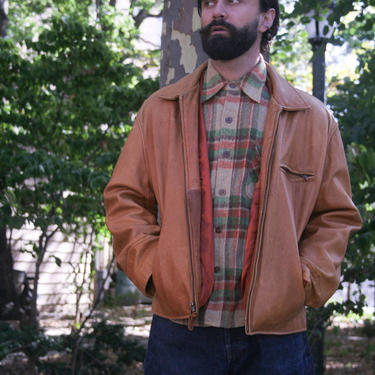 80s Brown Leather Jacket | Large | Men's Leather Coat | Tannery West | Fall Jacket | by HamletsVintage