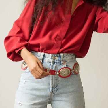 1970s Red Leather and Stamped Silver Concho Belt by waywardcollection