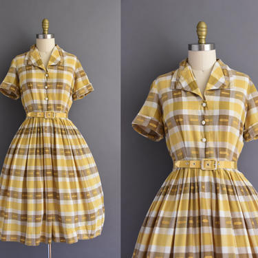 5799ef630d1dc vintage 1950s Jeanne yellow and brown plaid cotton shirt dress Medium  vintage 50s plaid cotton full skirt shirt dress by simplicityisbliss