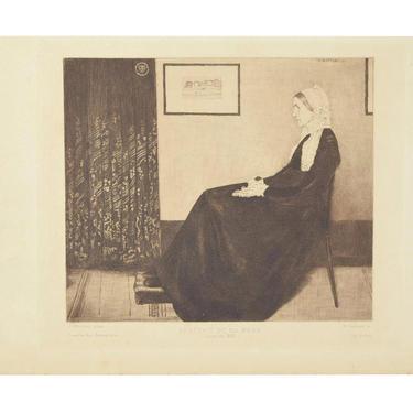 "1883 James McNeill Whistler Etching ""Portrait de ma Mere"" Whistler's Mother by PrairielandArt"