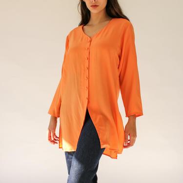 Vintage 80s Diane Von Furstenberg Sherbert Orange Silk Kurta Blouse | 100% Silk | 1980s DVF Designer Bohemian Kurti Butter Soft Silk Top by TheVault1969