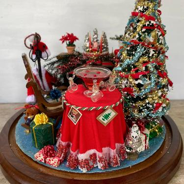 Vintage Christmas Diorama By Patty Lloyd Beverly Hills, Christmas Tree Fire Place Miniature Diorama by luckduck