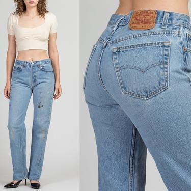 "Vintage Levi's 501xx Unisex Jeans - Men's Small, Women's Medium, 31"" | 80s Paint Splattered Denim Straight Leg High Waist Boyfriend Jeans by FlyingAppleVintage"