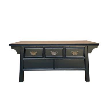 Oriental Rectangular Black Lacquer 3 Drawers Coffee Table cs6989E by GoldenLotusAntiques