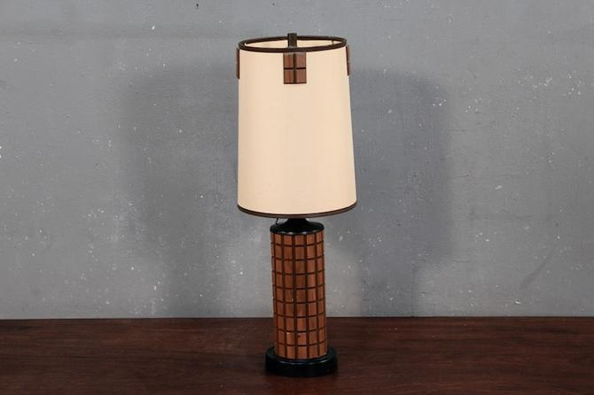 Mid Century Wood Grid Table Lamp