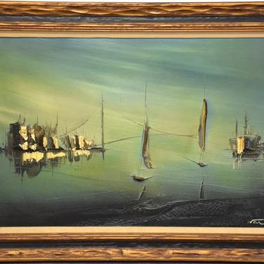 Oil on Canvas Painting Shipyard Scene Signed Ivan by mixedmodern1