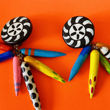 "1970's vintage hand painted tribal earrings AFRICAN print earrings POP ART earrings chandelier drop 4.5"" art deco hand paint clip on by ShopRVF"